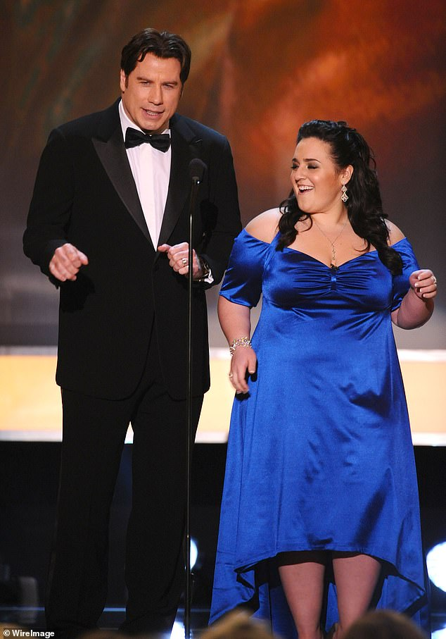 Personally delivery: Before Nikki Blonsky's news of coming out circulated she personally texted John Travolta, who played her on-screen mother in Hairspray, she told the Hollywood Reporter on Tuesday (pictured together in 2008)