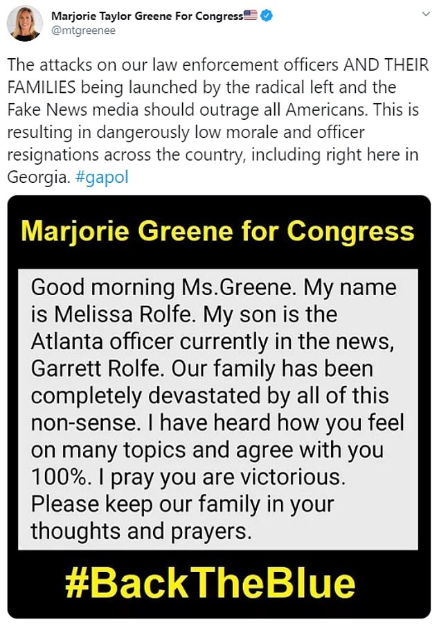 Melissa Rolfe suspects she was targeted for her posts on social media where she shares photos of Garrett saying 'I Stand with Officer Rolfe'. She also reached out to local politician Marjorie Green, who supports the police system, about her family's suffering through these times