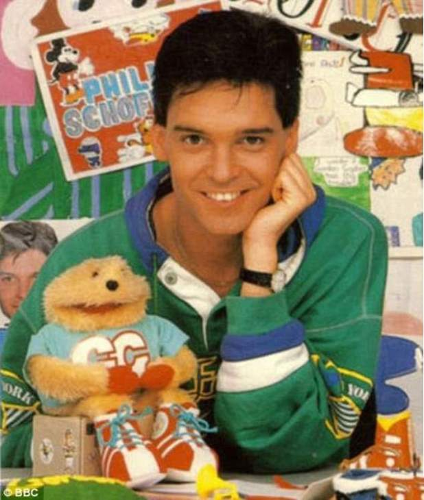Throwback: Phillip began his career on the BBC as the host of its children's counterpart, introducing programmes alongside Gordon the Gopher