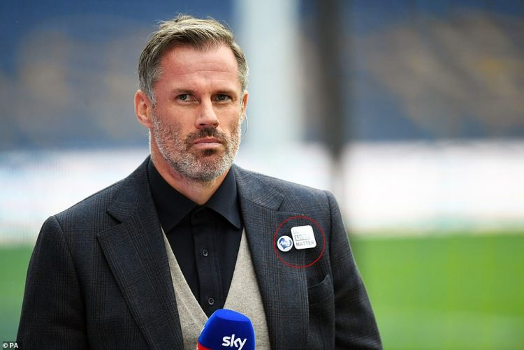 The body said in a statement that while there is 'no room for racism in football', it does not support any 'political organisation or movement', nor any group which 'calls for violence or condones illegal activity'. Pictured: Former Liverpool player Jamie Carragher wearing a BLM badge on June 21
