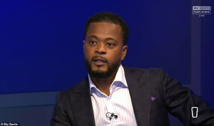 Patrice Evra, pictured, who also appeared on tonight's show, did not wear a BLM badge