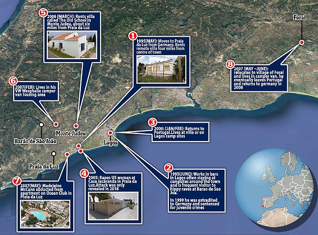 Sex criminal Brueckner raped the OAP in the Casa Jacaranda villa - just a 10-minute walk from the Algarve apartment where the McCanns holidayed in 2007