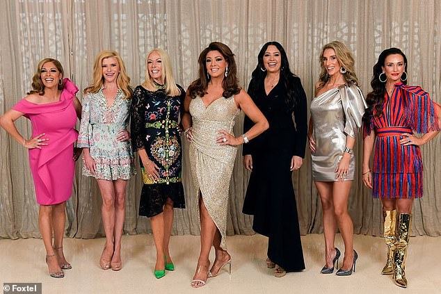 'I'm going to miss these beauties for a while. The Real Housewives of Melbourne won't resume filming until next January. See you then my glamorous sisters!' Janet wrote on Instagram. Pictured from left: Anjali Rao, Gamble Breaux, Janet Roach, Gina Liano, Lydia Schiavello, CherryDipietrantonio and Kyla Kirkpatrick