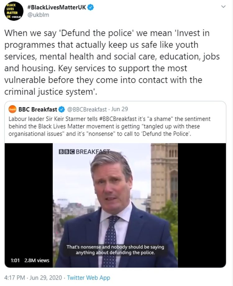 On Sunday, Black Lives Matter UK issued a barrage of tweets over Israel's proposed annexation of the West Bank and claimed that 'mainstream British politics is gagged of the right to critique Zionism.' The following day Labour leader Sir Keir Starmer, who has 'taken the knee' alongside parliamentary colleagues, called it a 'shame' that the sentiment behind the Black Lives Matter protests was getting 'tangled up with these organisational issues' and said calls to defund the police were 'nonsense.'