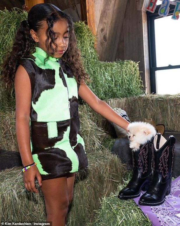 Cowgirl chic: North looked cowgirl chic in a neon green cowhide dress, as she blew out a candle on her purple stetson shaped cake