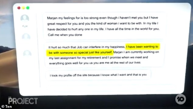 Marjan shared romantic messages from Kyle, who convinced her he wanted to be with her