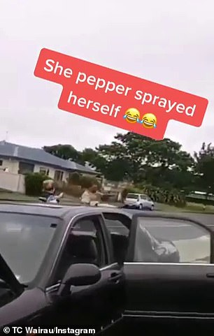 This does not deter the man and the officer accidentally sprays herself in the face