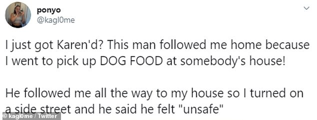 She had been picking up free dog food from a local who posted about it on Facebook when she was tailed by the man. She shared the video on Twitter where it has gone viral