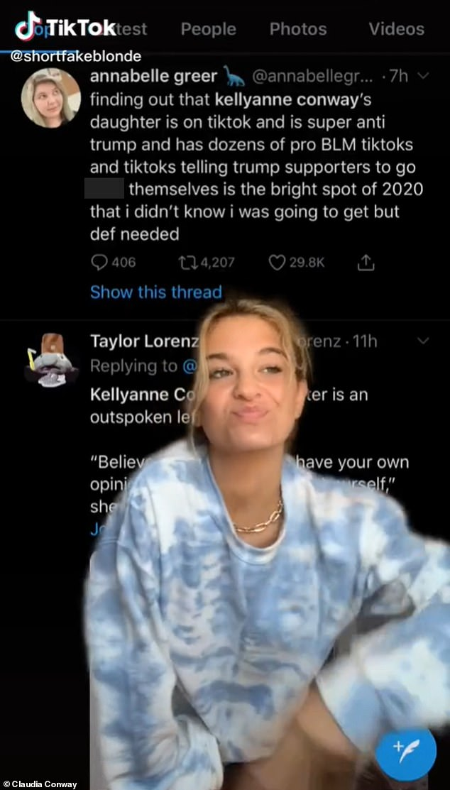 Claudia Conway, 15, has shared multiple videos on the platform under the username @shortfakeblonde where she has spoken out against her mom's boss and pledged her support to the Black Lives Matter movement