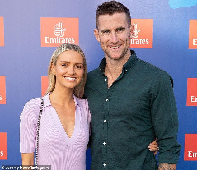 After leaving the home of Howe (pictured with his wife Kahlia), Sidebottom took an Uber to the home of ex-teammate Daniel Wells. Sidebottom was eventually found wandering the streets by police at 7.30am the next morning, with the officers offering him a ride home
