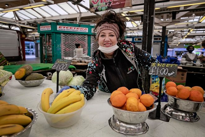 Poor Leicester woke up yesterday to discover that it is the first place in Britain that must rewind the clock to the dark days of April after a localised second wave of coronavirus, writes Robert Hardman (Pictured:Vicki Chapple on her market stall in Leicester)