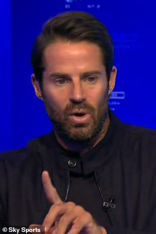 Jamie Redknapp, pictured, and Patrice Evra were not wearing Black Lives Matter badges on Tuesday