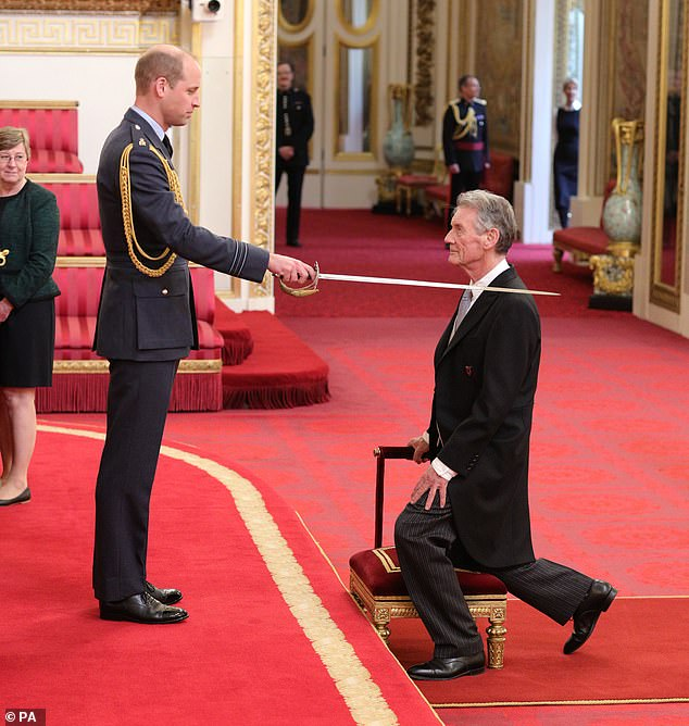 Although Sir Michael (pictured being knighted by Prince William in 2019) said his honour features the new badge, the comedian and television presenter has backed calls for a redesign after seeing other examples