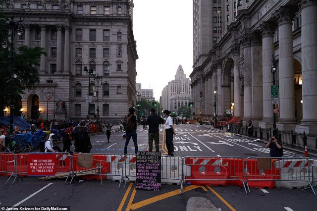 The protesters had set up barricades on Center Street to try to expand their autonomous zone