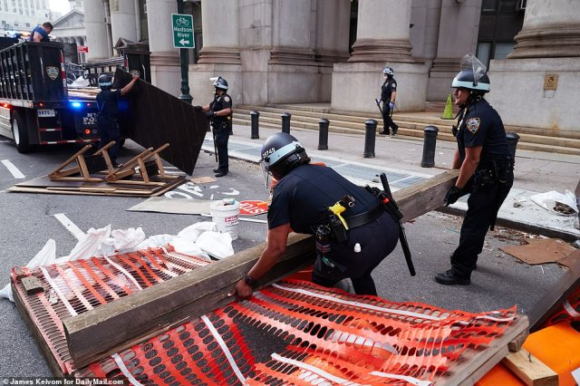 The officers removed the barricades first thing on Wednesday morning to allow traffic to pass through again