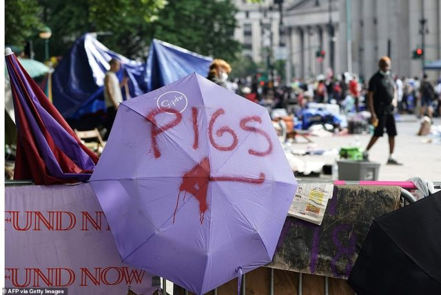 Protesters painted the word Pigs onto their umbrellas in an insult to the cops at the scene