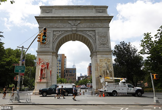 Giuliani called the Black Lives Matters movement a 'Marxist' organization out to destroy the police after the arch at Washington Square Park in New York was targeted by vandals throwing balloons