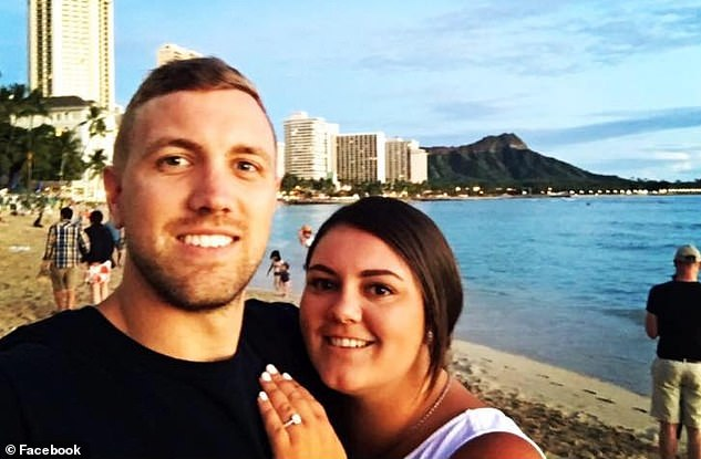 Sean will be unable to speak or work as a fireman or paramedic again after he undergoes surgery to remove his tongue (pictured with wife Jess on holidays in Hawaii two years ago)