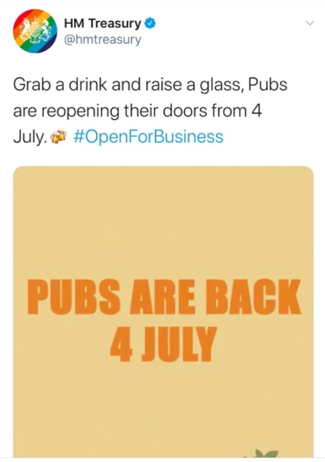HM Treasury tweeted yesterday to urge people to 'grab a drink and raise a glass' as pubs reopen in England on Saturday