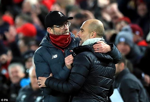 Jurgen Klopp (left) embraces Pep Guardiola after Liverpool beat Manchester City in November
