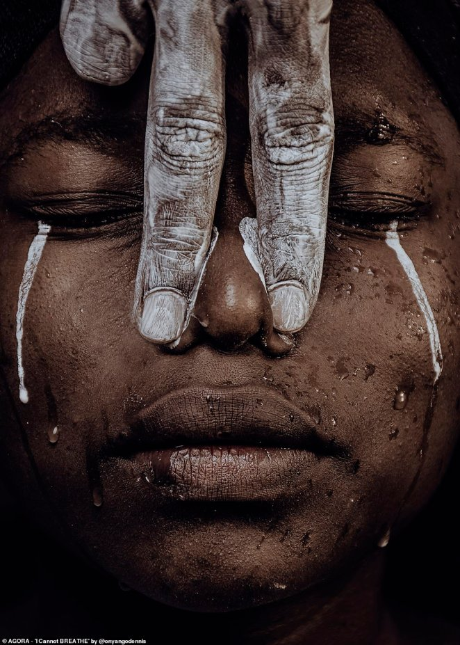 'I can't breathe' by Kenyan photographer Onyango Dennis (@onyangodennis) - pictured - was the overall winner of the competition run by Agora receiving the most number of votes from the community