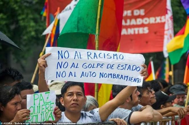 Pictured: A man in Bolivia holds a sign that reads 'No al racismo - no al golpe de estado - no al auto nombramiento.' The sign translates to 'no to racism - no to the coup - no to the self appointment'
