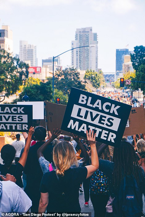 Pictured: Protesters in San Diego join the Black Lives Matter march