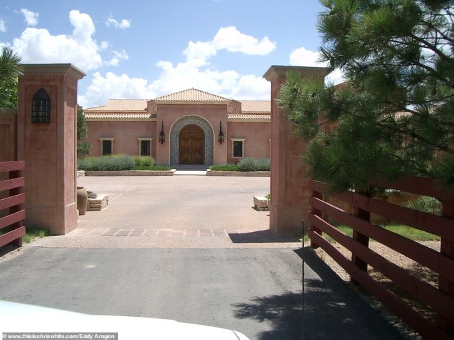 The entrance to Epstein's ranch in New Mexico, which he purchased for $12 million in 1993