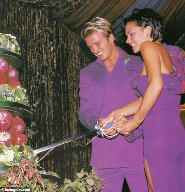 Purple daze: David and Victoria's lavish 1999 ceremony involved thrones, outfit changes and their baby son Brooklyn in a cowboy hat