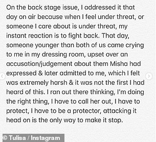 Her story: Tulisa continued: 'I fully acknowledge the pain I caused and fully accept people should be angry about it. I can state again there was nothing racial in my thought process'