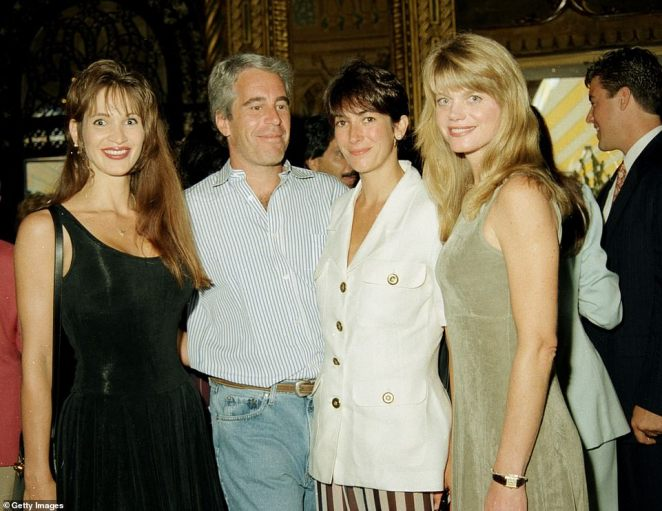 Deborah Blohm, Jeffrey Epstein, Ghislaine Maxwell and Gwendolyn Beck at a party at the Mar-a-Lago club, in 1995