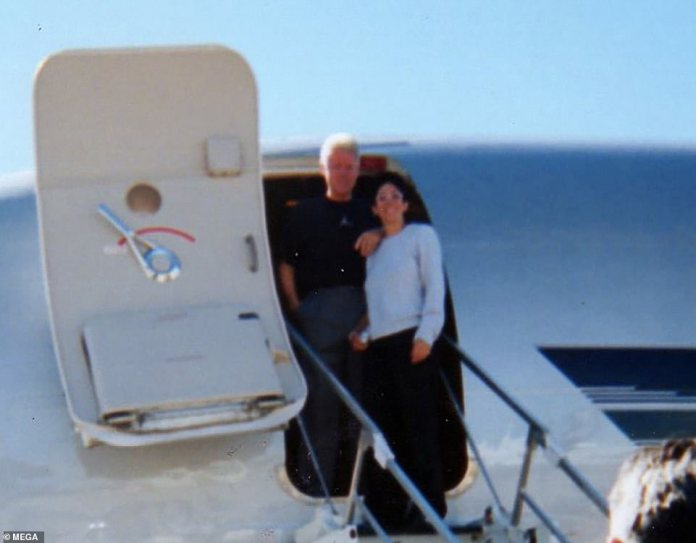 Maxwell and Bill Clinton on the Lolita Express - Epstein's private jet which was used to transport underage girls to his private island in the Caribbean and his ranch in New Mexico