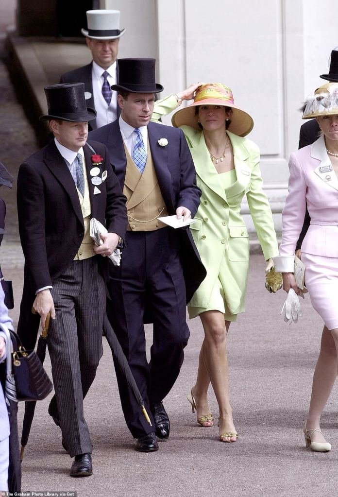 Prince Andrew and Ghislaine Maxwell at Ascot. With them, Edward (far left) and Caroline Stanley (far right)