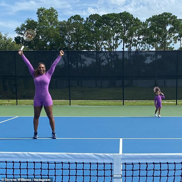 Game, set, match: the 38-year-old tennis champion is training for her return to the US Open at the end of August and her adorable two-year-old girl seems to be helping her famous mother