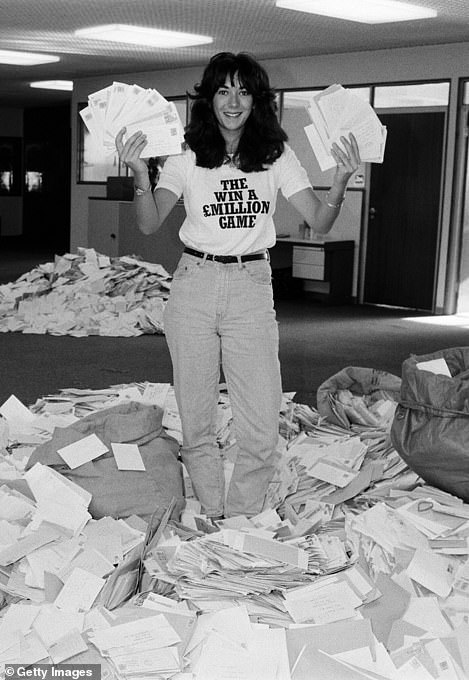 Ghislaine Maxwell, daughter of the former editor of the group Mirror, Mr. Robert Maxwell, sifting through the mountain of `` Draw Coupon '' entries in 1984.