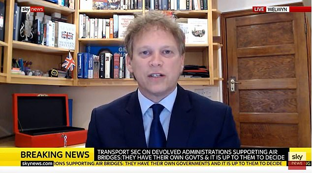 Transport Secretary Grant Shapps told Sky News today (above) travellers to England from around 60 countries and overseas territories will no longer have to quarantine upon arrival
