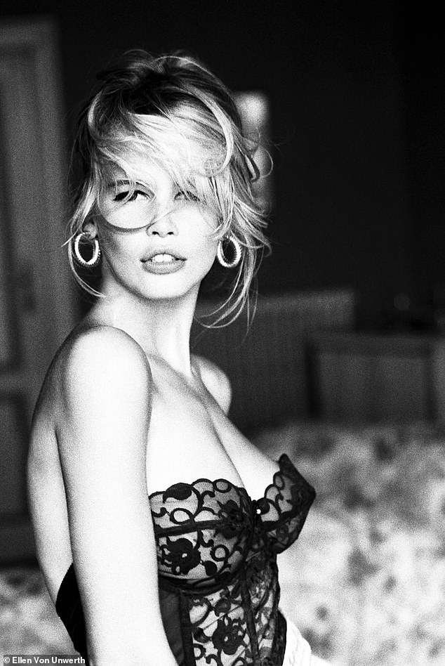 Muse: And Claudia looks like a complete bombeshell in this black lace bustier for Guess, shot in Morrocco in 1989