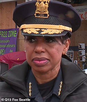 Seattle Police Chief Carmen Best said: 'The CHOP has become lawless and brutal. Four shootings–-two fatal—robberies, assaults, violence and countless property crimes have occurred in this several block area.'