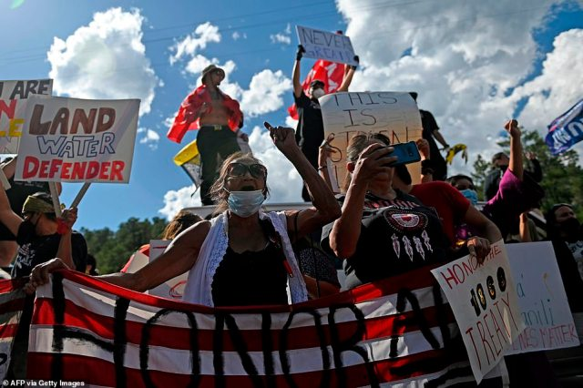 Demonstrators, mostly Native Americans, were protesting the occupation of South Dakota's Black Hills that they say were taken from the Lakota people against treaty agreements