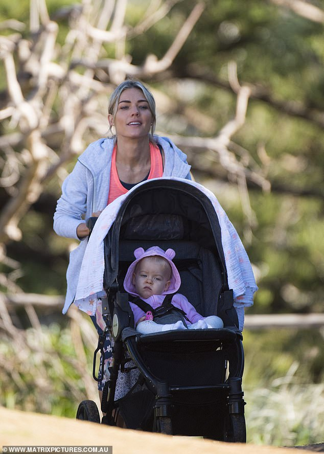 On the go! Sam was seen filming another scene pushing a stroller with a baby, playing Grace. Grace isthe daughter of Dr. Tori Morgan, played by Penny McNamee, who she shared with Robbo Shaw, played by Jake Ryan
