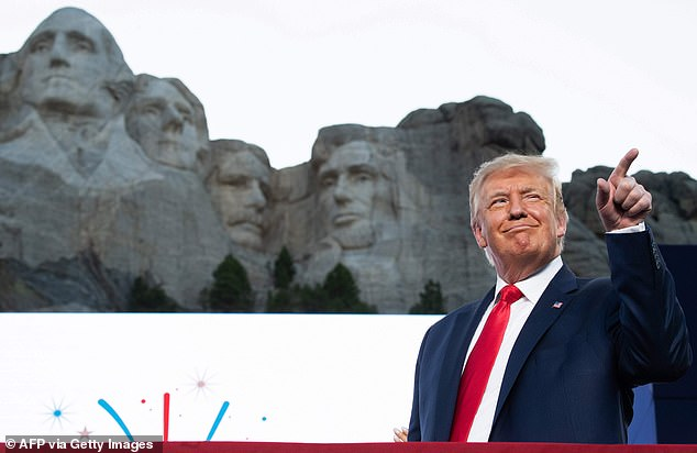 President Trump (pictured) spoke ahead of a fireworks display at Mount Rushmore in South Dakota on Friday night as party of a White House Fourth of July celebration