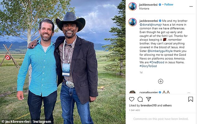 Don Jr and Kimbery Guilfoyle were in Montana ahead of the Mount Rushmore event, according to this Instagram photo posted by formerNFL safety Jack Brewer, a prominent Trump supporter