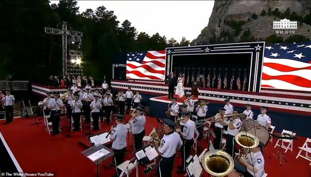 The president and first lady arrive at Mount Rushmore for the Fourth of July festivites, which kicked off with military flyovers, patriotic music and messages from servicemembers from South Dakota