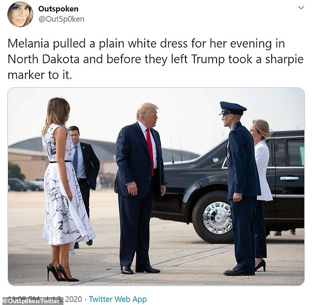 One user wrote: `` Melania pulled a solid white dress for her evening in North Dakota and before they left, Trump took a sharp marker ''