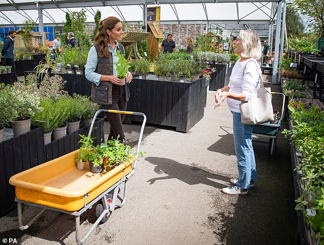 Tracey explained how, after giving the king a `` brief '' on what to buy, the staff had been `` blown away '' by the plants and flowers that Kate had brought to create a new outdoor space in The Nook (photo, Kate shopping for plants and herbs) for the hospice garden at the Fakenham Garden Center)