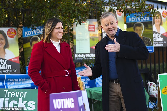 Labor's Kristy McBain (left) is likely to win the Eden-Monaro by-election battle. Pictured with Opposition Leader Anthony Albanese at Merimbula Primary School in Merimbula, NSW, Saturday, July 4