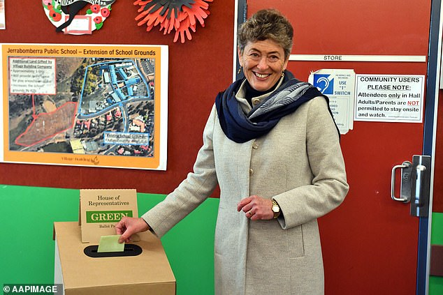 Liberal candidate for Eden-Monaro Fiona Kotvojs votes at Jerrabomberra Public School polling station, north of Queanbeyan, NSW, Saturday, July 4