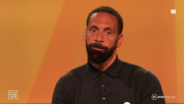 But Rio Ferdinand (pictured), Robbie Savage and Steve Sidwell wore BLM badges on BT Sport