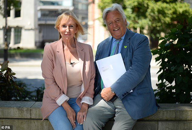Michael Mansfield and Yvette Greenway at Parliament Square in London, after Yvette delivered a letter of intent for the #BackTo60 campaign