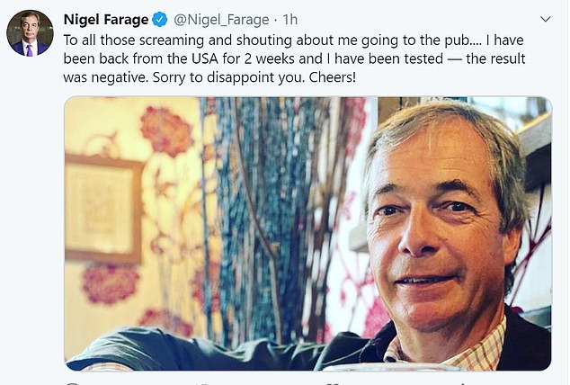 Nigel Farage tweeted a photo of him enjoying his first pint in a pub, but things turned sour when Lib Dem chief Ed Ed Davey asked the police to investigate if he broke the rules. quarantine